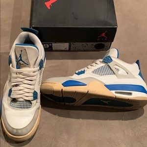 Nike Air Jordan 4 Retro, white, military blue,grey